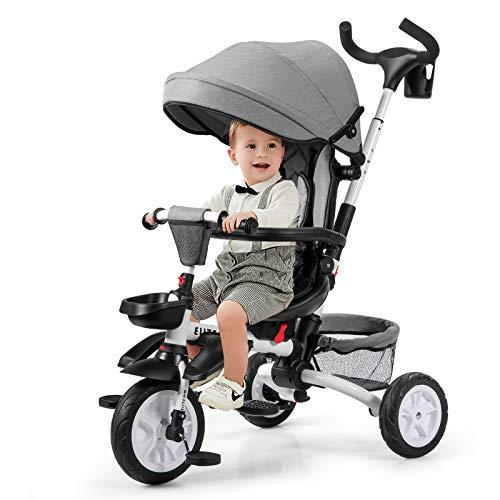 COSTWAY 6-in-1 Kinderdreirad mit verstellbarem & abnehmbarem Dach, Sicherheitsgurt, Kinder Dreirad mit Schubstange, Klapppedal und Aufbewahrungstasche für Kinder im Alter von 12-50 Monaten (Grau)