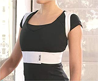 PTM Wellbrace - Adjustable Back-Posture Corrector - Elastic - Different Sizes & Adjustable for Custom Fitting & Comfort -for Cervical,  Thoracic and/or Lumbar Pain - for Women & Men (Small)