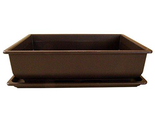 Bonsaischale aus Kunststoff mit dunkelbraunen Untersetzer Länge: 34cm - Breite: 26cm - Höhe: 9cm eckige Form