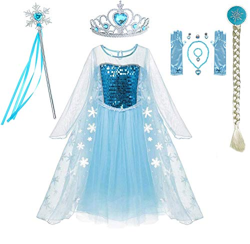 Fancydresswale Fronzie Queen Party Princess Costume for Girls with Accessories (6-8 Years)