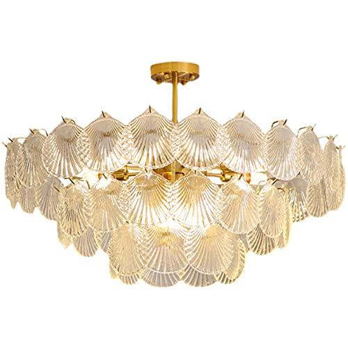 LCJD Araña Retro Sala de Estar lámpara de Dormitorio lámpara de Comedor de Vidrio de cáscara de Hoja Creativa
