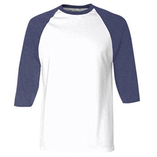 American Apparel - T-Shirt à Manches 3/4 - Homme (L) (Blanc/Bleu Marine)