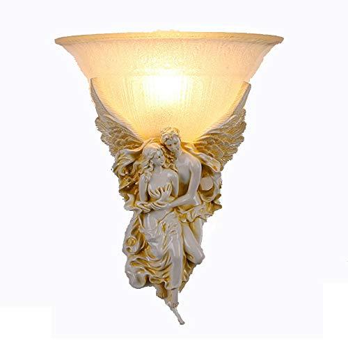 Couple doré ange lampes murales Nordic Holy Vintage rétro résine style européen pour vivre chambre église hôtel,White