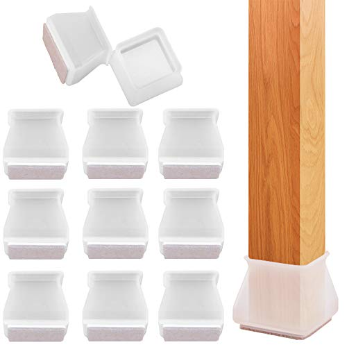 Yoaokiy 32Pcs Square Furniture Silicone Protection Cover, Silicone Chair Leg Floor Protectors with Anti-Slip Felt Pads, Furniture Leg Caps, Protect Your Floors from Scratches