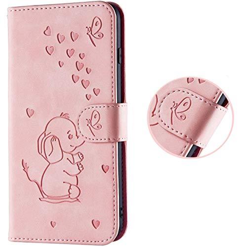 HMTECH Galaxy S10 Plus Hülle,Samsung Galaxy S10 Plus Handyhülle Süß Prägung Elefanten herzen Flip Case PU Leder Cover Magnet Schutzhülle Handytasche für Samsung Galaxy S10 Plus,Love Elephant Pink