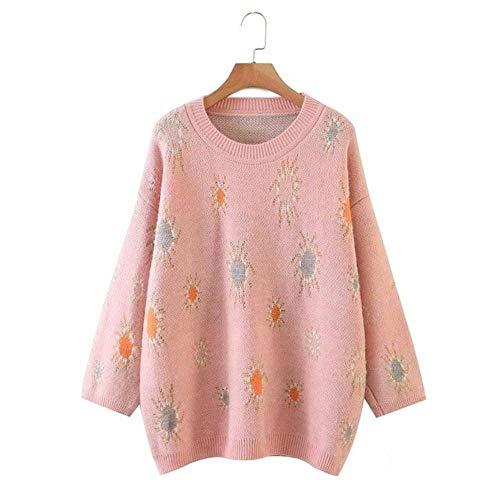 2020 New Women Knitted Top Jacquard O-Ausschnitt Langarm Pullover Pullover Casual Fashion Sweater Damen Damenbekleidung, Pink, M.