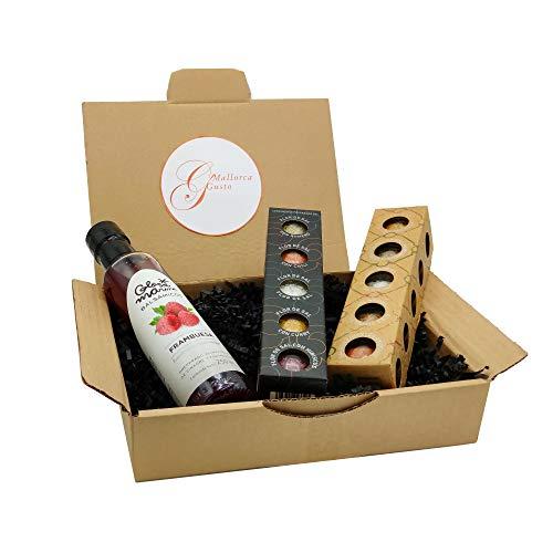Mallorca Feinschmecker Geschenkpaket *LLUBI* - GLOSA MARINA Balsamico Essig Himbeere + Gourmet Meersalz 5er Sets No.2 Black Edition und No.3