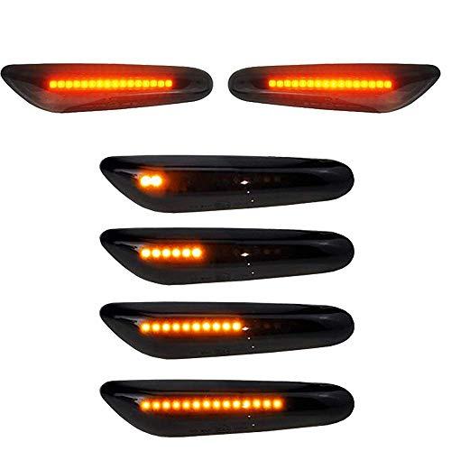Boomersun LED Seitenblinker 2er Pack 16 LED Dynamische Blinkleuchte Blinker Schwarz Smoke Passgenau für E90 E91 E92 E60 E82 E46 SB10