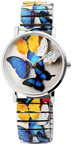 Excellanc Damenuhr Schmetterling Zugband Zugarmband Metall Armbanduhr