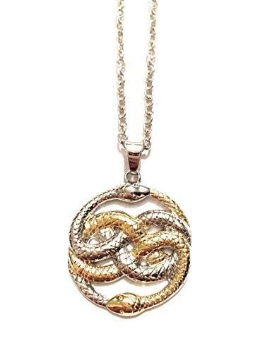 Giulyscreations - Collar L'Auryn de metal sin níquel inspirado en doble tono de plata y oro de la historia Infinita Bastian Atreiu Falcor Fantasy Snake Serpenti Medallón Cosplay
