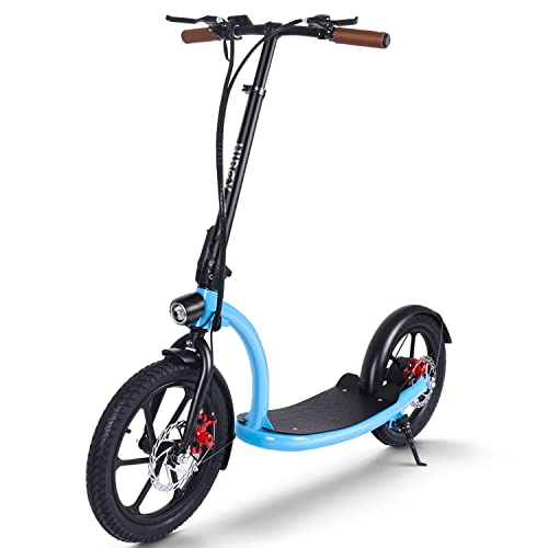 Patinete Eléctrico, Ruedas de 16 Pulgadas Neumáticas, hasta 30 Km de autonomía, Scooter eléctrico Plegable para Adolescentes y Adultos (Azul-Scooter)