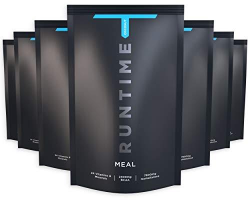 Runtime Meal - vollwertiger Mahlzeitersatz für langanhaltende Sättigung, Energie, Konzentration und Leistungsfähigkeit, mit Vitaminen und Nährstoffen, 8 x 100g (Coconut)