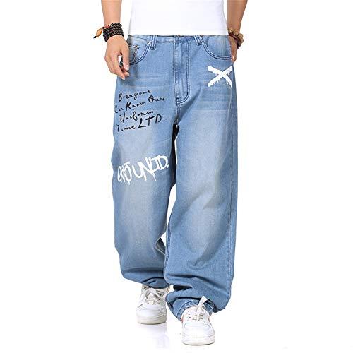 WYX Herren Jeans Mann Lose Jeans Hip Hop Skateboard Jeans Baggy Pants Jeans Hip Hop Herren Jeans,a,34