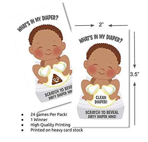 Whats In My Diaper Baby Shower Scratch Off Game | African American | 24 Cards - 1 Winner | Baby Shower Games | Baby Shower Prizes | Door Prizes | Diaper Party | Dirty Diaper Game
