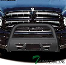 Topline Autopart Matte Black Studded Mesh Bull Bar Brush Push Front Bumper Grill Grille Guard With Skid Plate For 02-05 Dodge Ram 1500/06-09 1500 Mega (Extended Crew) Cab / 03-09 2500/3500