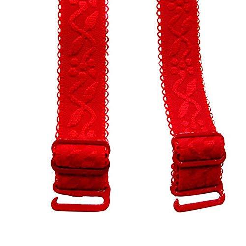 Yener 1 paar 34cm antislip beha-bandjes dames dubbele schouder elastische bh neon kleur elastische bh-band ondergoed, rood