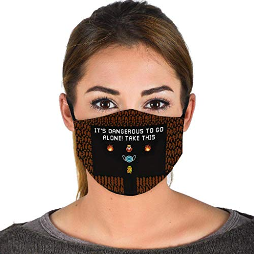 Legend Zelda It's Dangerous to Go Alone Take This Face Mask Balaclava Black for outdoor Scarf Bandana made in USA