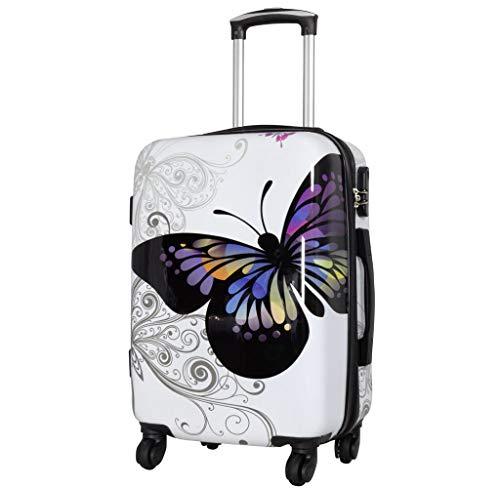Trendyshop365 Handgepäck Koffer Hartschale Schmetterling 56 Zentimeter 46 Liter 4 Räder Weiß Printdesign Zahlenschloss
