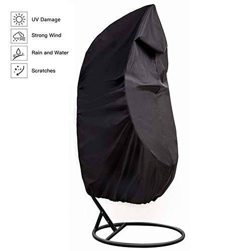 YYQIANG Waterproof Egg Swing Chair Cover, Black Heavy Duty Hanging Chair with Carry Bag for Outdoor Patio Garden (Size : 190CM*115CM(74.8'*45.28'))