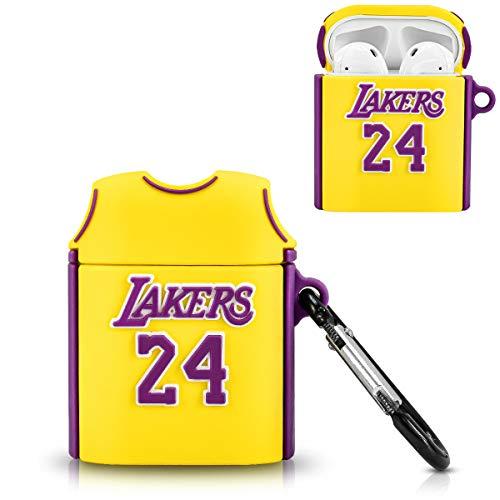 DLseego Siliconen Hoesje Compatibel met Airpods 1&2, Leuke Cartoon 3D Cool Basketball Shirt Design Cover voor Tieners Meisjes Jongens Mode Stijlvolle Grappige Hoesje met Sleutelhanger Airpods 1&2, Geel