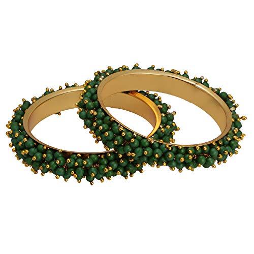 Efulgenz Fashion Jewelry Indian Bollywood 14 K Gold Plated Multicolor Faux Pearl Beaded Wedding Bridal Bracelet Bangle (2 Pc)