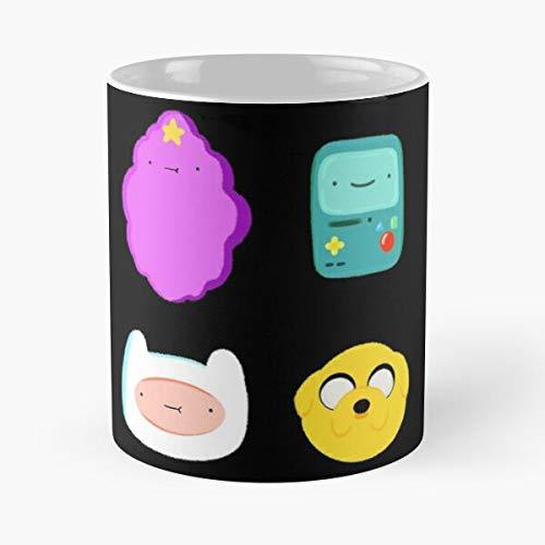 Adventure Time Characters - Taza de café de cerámica de mármol blanco