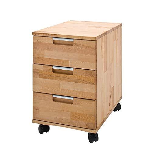 Robas Lund Bürocontainer Massivholz Schreibtischcontainer Kernbuche, Masimo BxHxT 39 x 59 x 47 cm