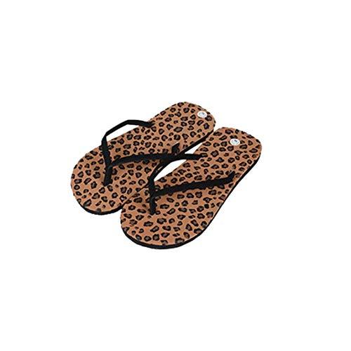 Tree-es-Life Bonitos Zapatos de casa con Estampado de Leopardo, Chanclas Informales, Antideslizantes, Suela Suave, Zapatillas de Verano para Mujer con Estampado de Leopardo