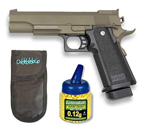 GOLDEN EAGLE Pistola Airsoft 1911 Marron. Calibre 6mm + Funda Portabalines + 1000 Bolas. 21993/23054