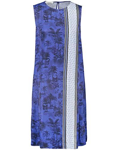 Gerry Weber Damen Kleid mit Patchmuster leger Blau/Ecru/Weiss Gemuster 36