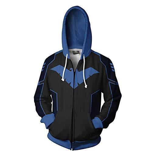 WKS Nightwing Hoodie,3D Zipper Sweatshirts Cosplay Jacket Pullover Costume for Halloween Men(Blue) (L, B2)