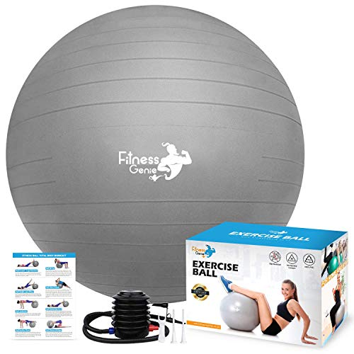 Gymnastikball, 65 cm, mit Luftfußpumpe, Yoga-Ball für Balance, Training,...