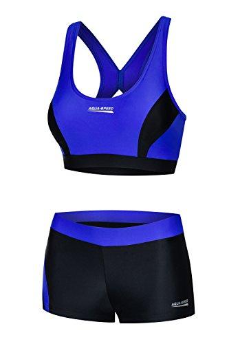 Aqua Speed Sport Schwimmbikini Set Damen I Bikini schwarz-blau I Two Piece Swimsuit I Bikinis Beachvolleyball I sportliche Bademode Frauen Mädchen I Schwimmbad I Gr. 40, Black-Blue I Fiona