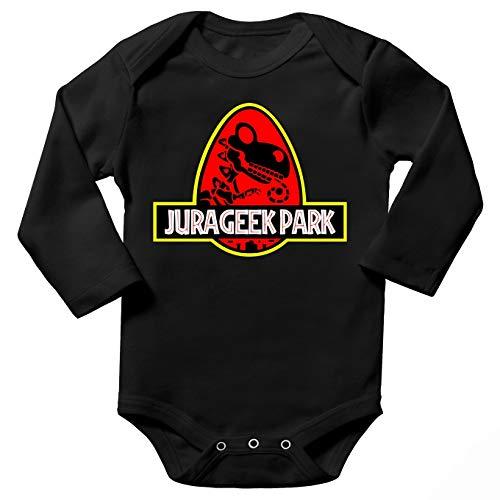 Body bébé Manches Longues Noir Parodie Yoshi - Jurassic Park - Yoshi et Jurassic Park - Jurageek Park !(Body bébé de qualité supérieure de Taille 9 Mois - imprimé en France)