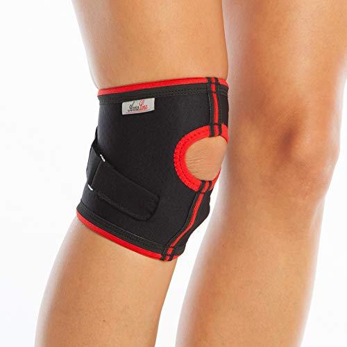 Doppel-Kniebandage, Patella-Stützbandage für Sehnenverletzungen, Schmerzlinderung, verstellbar, Neopren, für Laufen, Sport, Action (L)
