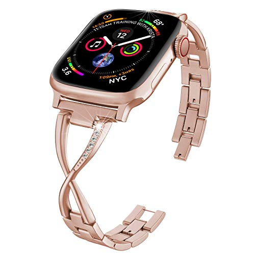 PUGO TOP Cinturino in Acciaio Compatibile with Apple Watch Serie 4 40mm 44mm iWatch Series 3 2 1 38mm 42mm Band in Metallo Bracelet X-Link(42mm/44mm Serie 3 e 4 Oro)