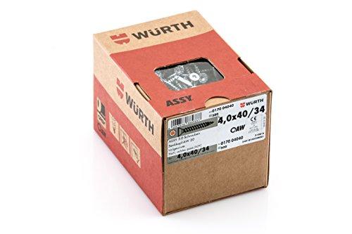 Würth Assy 3.0 Spanplattenschraube 4,0x 40 mm 500 Stck/Pack, Stahl verzinkt, blau passiviert, Vollgewinde, Senkkopf  AW 20