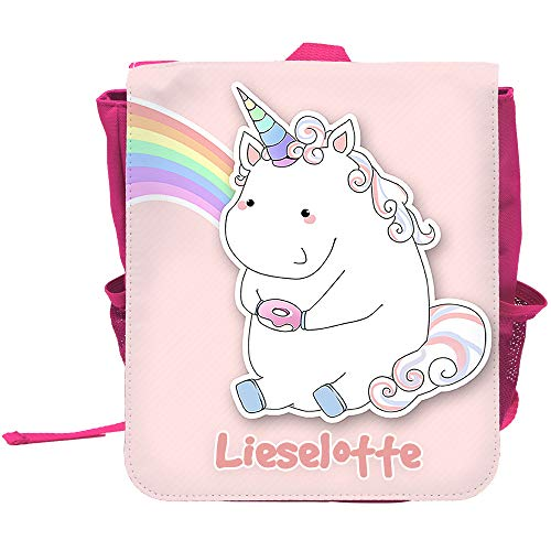 Kinder-Rucksack mit Namen Lieselotte und schönem Motiv - Einhorn mit Donut und Regenbogen in Pastel-Farben - für Mädchen | Rucksack | Backpack