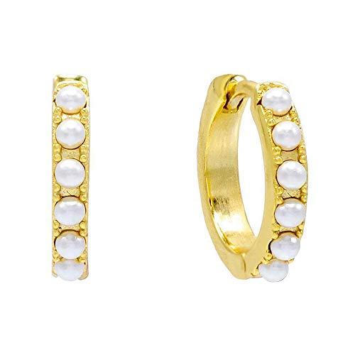 Brandlinger ® Atelier Creole Gold aus vergoldetem 925 Sterling Silber mit Perlen. Ohrringe Gold mit innerem Durchmesser 10mm (Gold)
