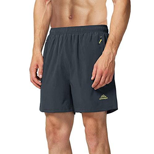 TACVASEN Workout Shorts for Men Drawstring Shorts Zipper Pocket Dark Gray,34