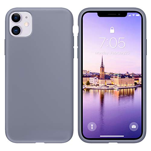 OuXul Case for iPhone 11 6.1 inch(2019) Liquid Silicone Gel Rubber Phone Case, Full Body Slim Soft Microfiber Lining Cushion Shockproof Protective Case Compatible with iPhone 11Lavender Gray