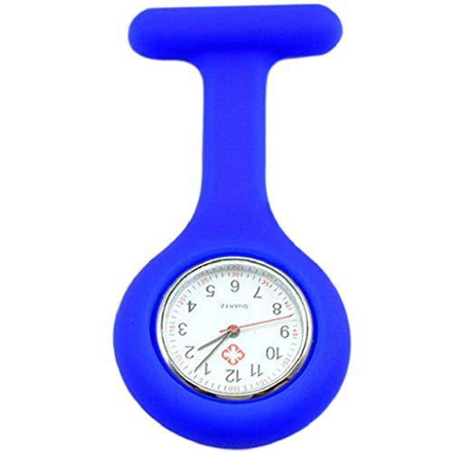 Pulabo - Reloj de enfermera de silicona con broche de bolsillo, túnica y mecanismo de cuarzo, color azul oscuro, respetuoso con el medio ambiente y práctico de seguridad.