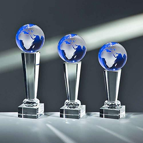 Henecka Noblesse Glas-Trophäe Weltkugel blau, Kristallglas, mit Wunschgravur, Größe 25,5 cm