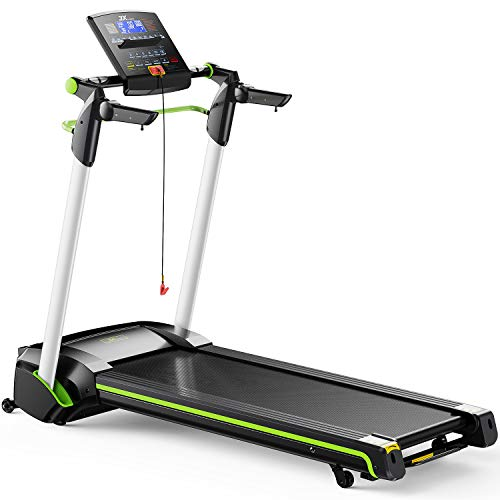 JX FITNESS Folding Treadmill with Device Holder, Shock Absorption and Incline, Fitness Exercise Machine for Home Gym, Cardio Training w/Wheels, Safety Key, Heart Sensor and Adjustable Speed