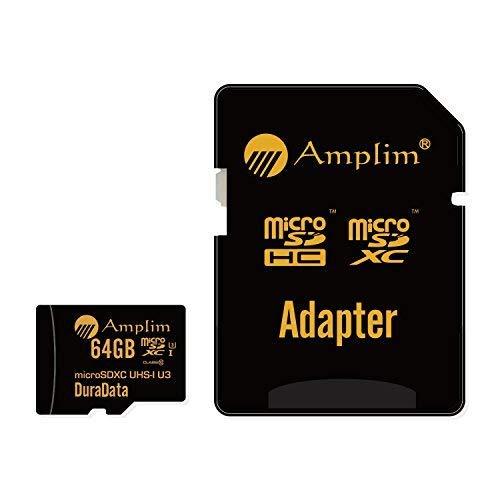 Amplim 64GB Micro SD SDXC Memory Card Plus Adapter Pack (Class 10 U3 UHS-I V30 A1 MicroSD XC Extreme Pro) 64 GB Ultra High Speed 667 X 100MB/s UHS-1 TF MicroSDXC 4K Flash - Cell Phone, Drone, Camera
