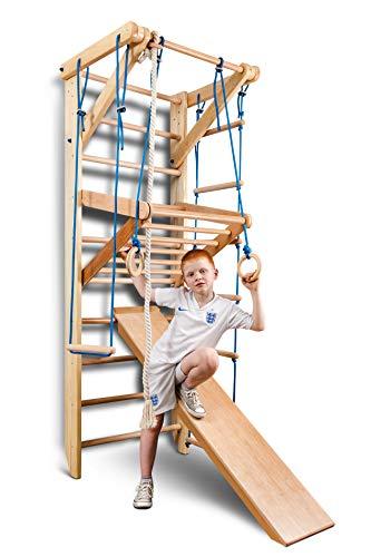 Sportgerät Turnwand Kinder Gym Sport-3-240 Klettergerüst Fitness Kletterwand Holz Sprossenwand mit Stange