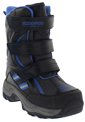 Weatherproof Boys Snow Boots with Multi Hook & Loop Strap Closures (Kody) All-Weather Insulated Winter Boots Built for Comfort, Durability - Keeps Feet Warm & Dry Black/Blue