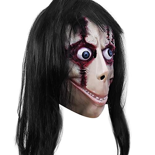 Máscara de diablo de horror con pelo largo, juego de desafío de miedo, disfraz de maldad, accesorios de decoración de fiesta de Halloween espeluznante (C)
