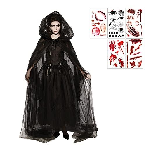 Disfraz de Bruja Negra Fantasma de Halloween Mujer, Bruja Disfraz Vampiresa de Mujer Disfraz de Bruja Vampiro Vestido Adulto Disfraces Carnaval Mujer Cosplay Capa, Vestido y Manga