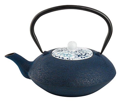 Tetera hierro fund.c/tapa porc.+filtro Yantai-azul 1.2L